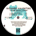 RICHARD VALENTINE - Come Back Lover (Remixes) (Front Cover)