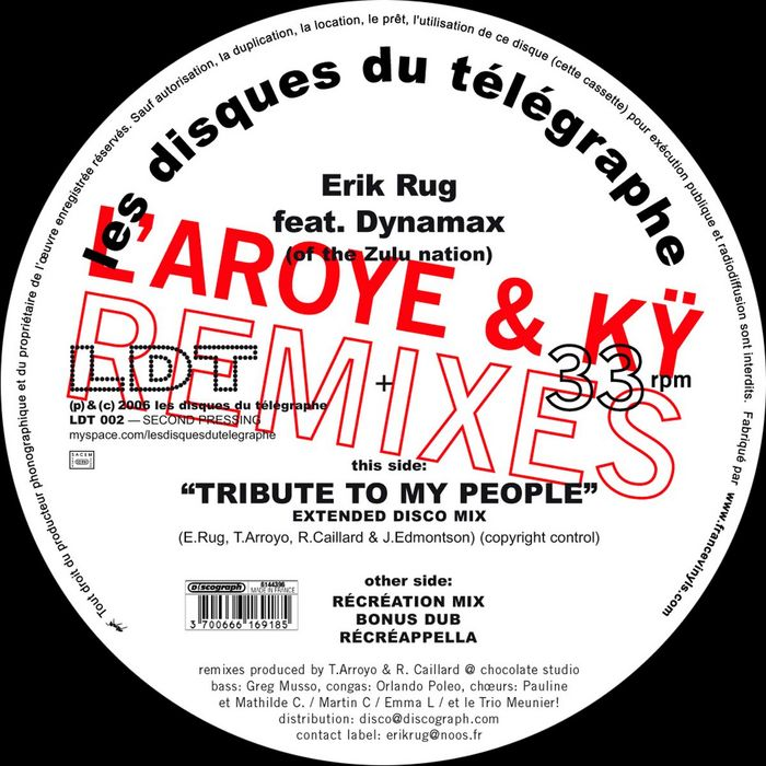 RUG, Erik feat DYNAMAX of THE ZULU NATION - Tribute (L'Aroye & Ky remixes)