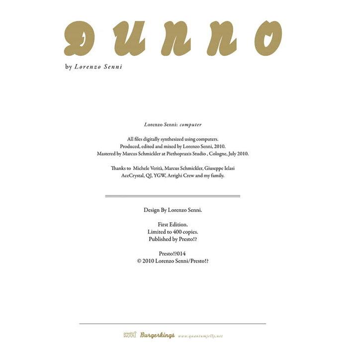 Lorenzo Senni - Dunno